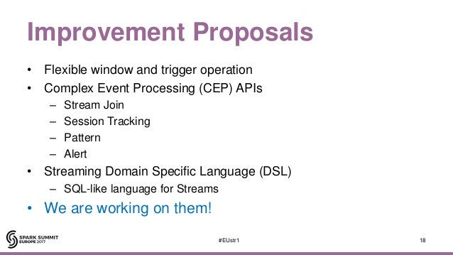 Improvement Proposals • Flexible window and trigger operation • Complex Event Processing (CEP) APIs – Stream Join – Sessio...