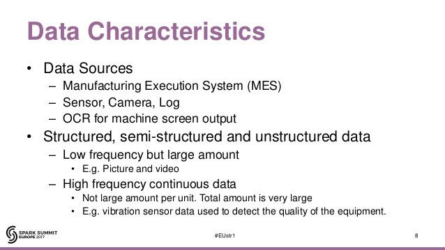 Data Characteristics • Data Sources – Manufacturing Execution System (MES) – Sensor, Camera, Log – OCR for machine screen ...