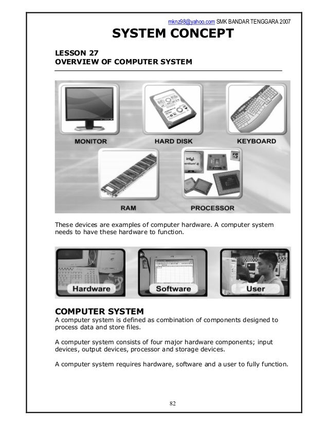 mknz98@yahoo.com SMK BANDAR TENGGARA 2007 82 SYSTEM CONCEPT LESSON 27 OVERVIEW OF COMPUTER SYSTEM These devices are exampl...