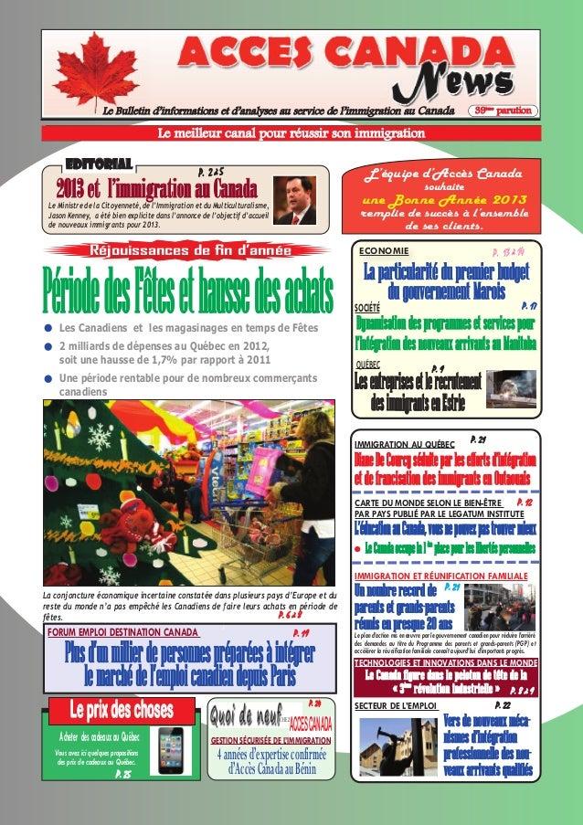 Le Bulletin d'informations et d'analyses au service de l'immigration au Canada                                            ...