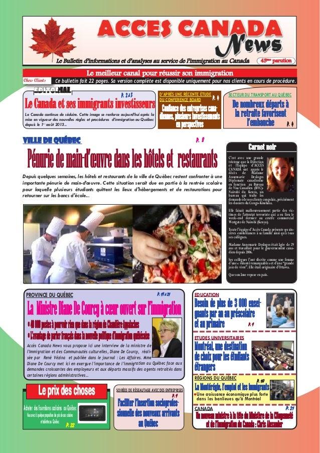 P. 10 Le Bulletin d'informations et d'analyses au service de l'immigration au Canada 43ème parution Leprixdeschoses P. 22 ...