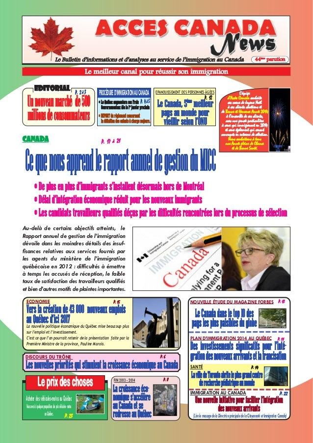Le Bulletin d'informations et d'analyses au service de l'immigration au Canada  44ème parution  Le meilleur canal pour réu...
