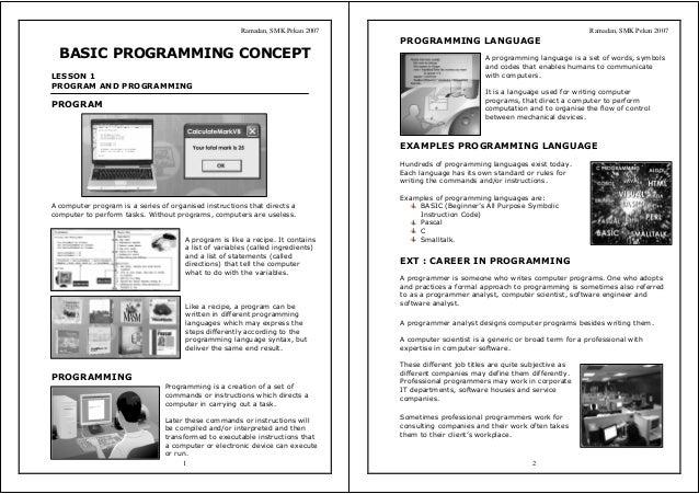 Ramadan, SMK Pekan 2007 1 BASIC PROGRAMMING CONCEPT LESSON 1 PROGRAM AND PROGRAMMING PROGRAM A computer program is a serie...