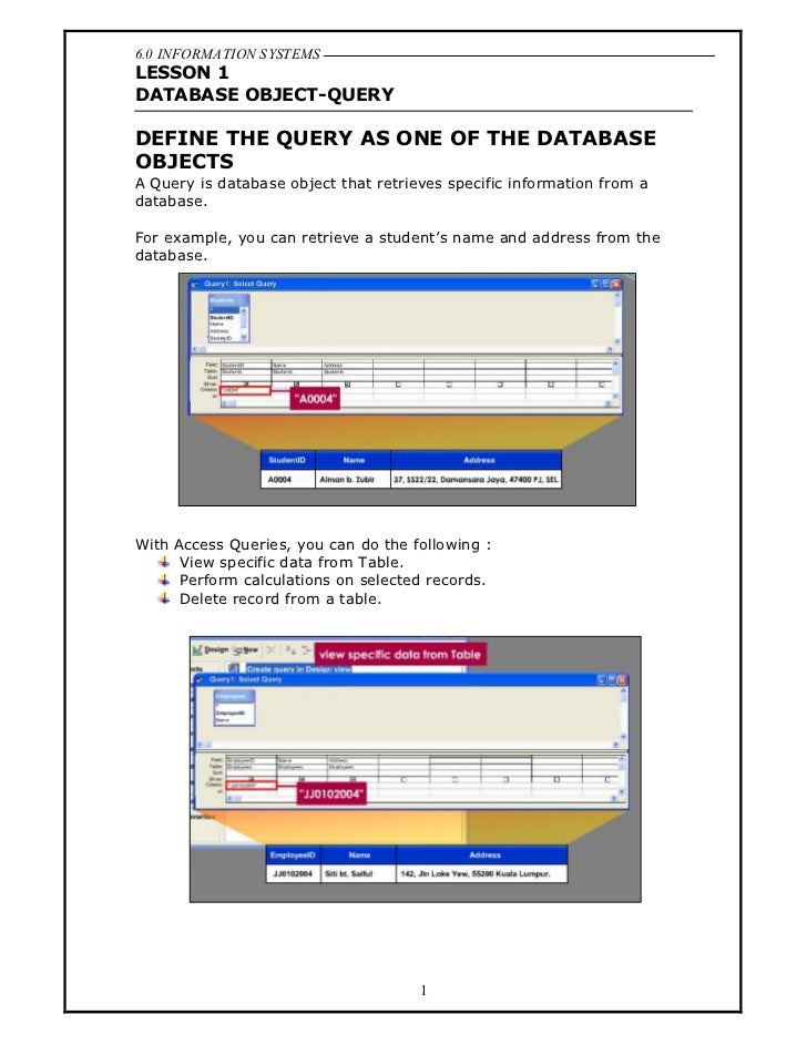 6.0 INFORMATION SYSTEMSLESSON 1DATABASE OBJECT-QUERYDEFINE THE QUERY AS ONE OF THE DATABASEOBJECTSA Query is database obje...