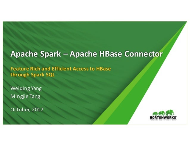 1 ©Hortonworks Inc.2011– 2017.AllRightsReserved ApacheSpark– ApacheHBase Connector FeatureRichandEfficientAc...