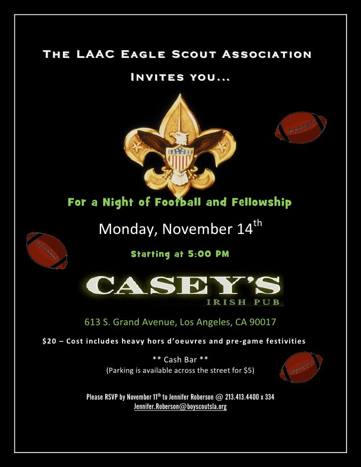 The LAAC Eagle Scout Association                          Invites you…      For a Night of Football and Fellowship        ...