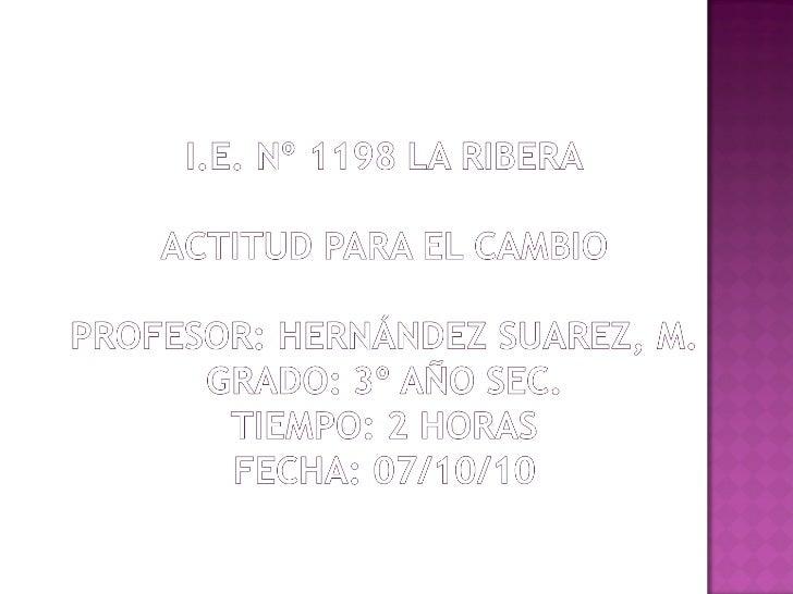 LA ACTITUD PARA EL CAMBIO PFRH 3ero Slide 2