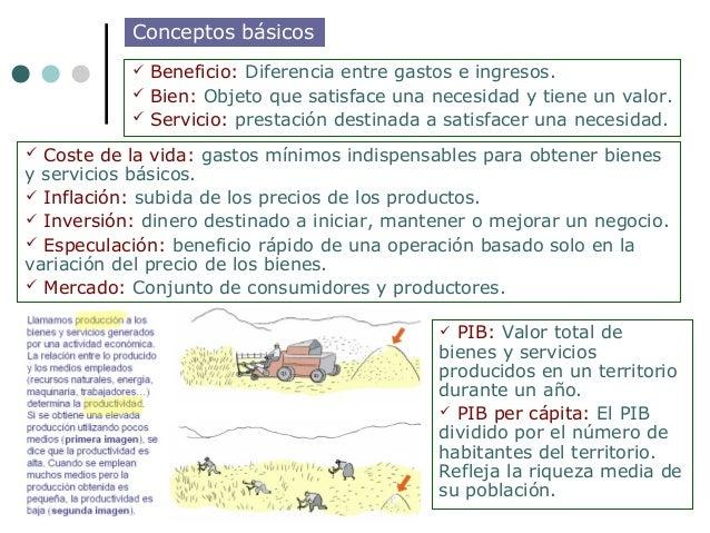 Conceptos básicos            Beneficio: Diferencia entre gastos e ingresos.            Bien: Objeto que satisface una ne...