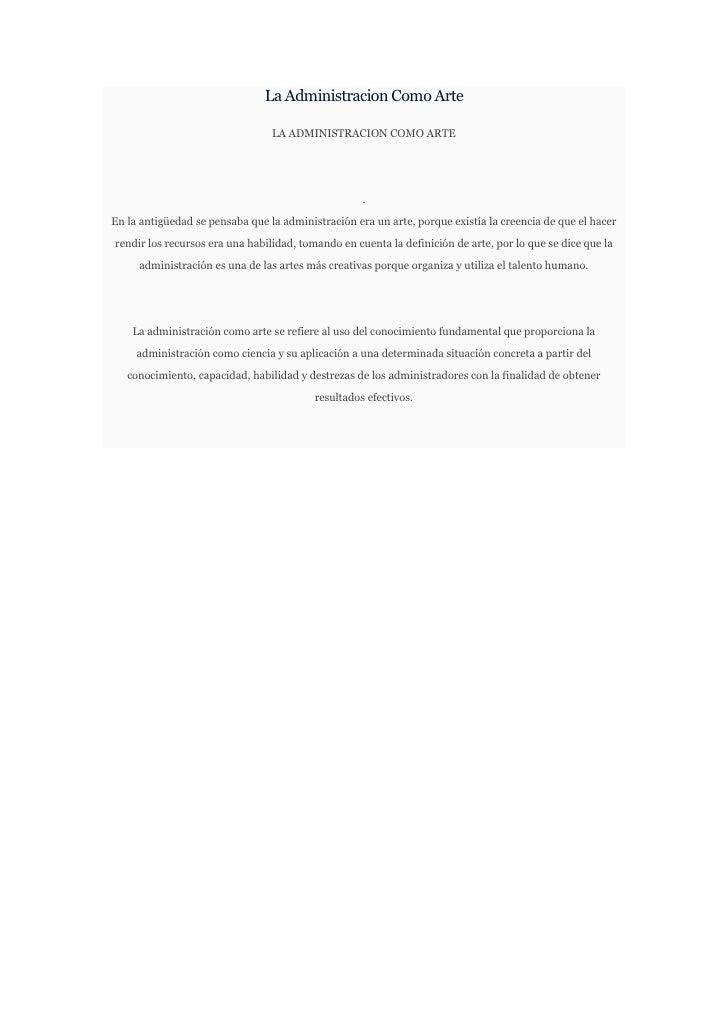 La Administracion Como Arte                                 LA ADMINISTRACION COMO ARTE                                   ...