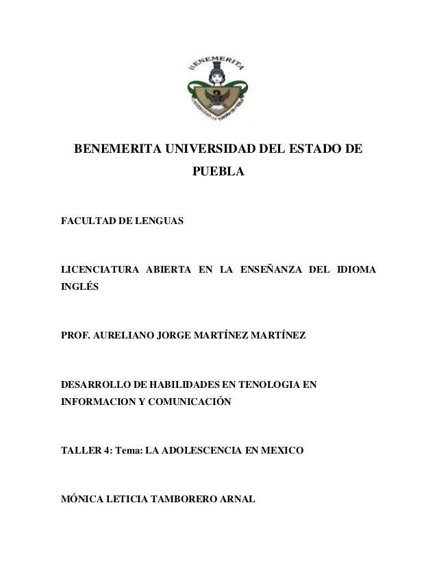 BENEMERITA UNIVERSIDAD DEL ESTADO DE                      PUEBLAFACULTAD DE LENGUASLICENCIATURA ABIERTA EN LA ENSEÑANZA DE...