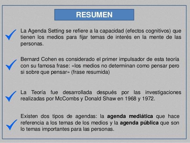 Agenda Setting - Teoría del Establecimiento de la Agenda