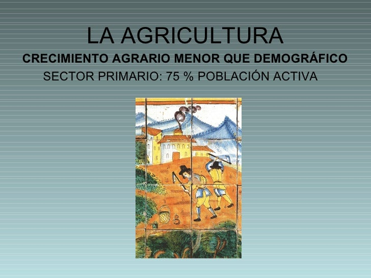 LA AGRICULTURA <ul><li>CRECIMIENTO AGRARIO MENOR QUE DEMOGRÁFICO </li></ul><ul><li>SECTOR PRIMARIO: 75 % POBLACIÓN ACTIVA ...