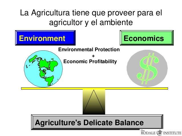La Agricultura tiene que proveer para el        agricultor y el ambienteEnvironment                          Economics    ...