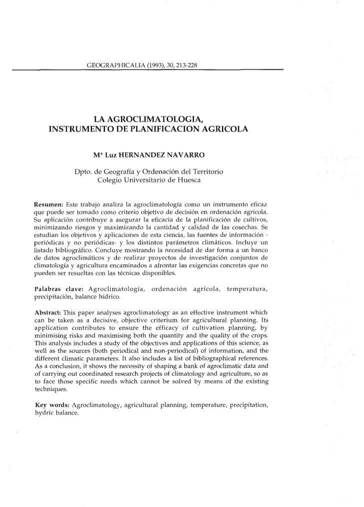 GEOGRAPHICALIA (1993), 30,213-228             LA AGROCLIMATOLOGIA,     INSTRUMENTO DE PLANIFICACION AGRICOLA              ...