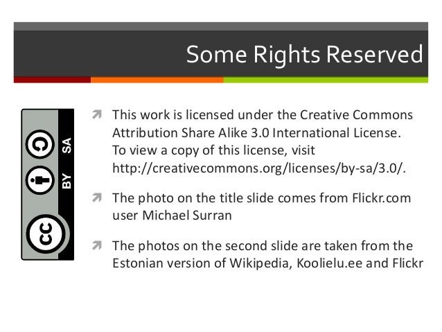 Some Rights Reserved  This work is licensed under the Creative Commons Attribution Share Alike 3.0 International License....