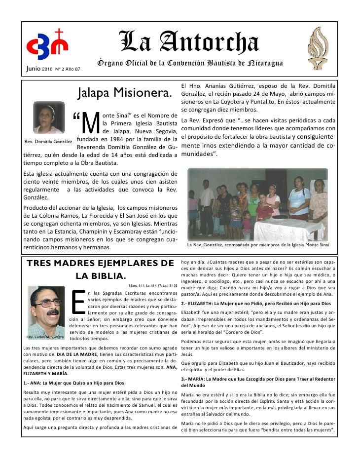 La Antorcha                                       Órgano Oficial de la Convención Bautista de Nicaragua  Junio 2010     Nº...