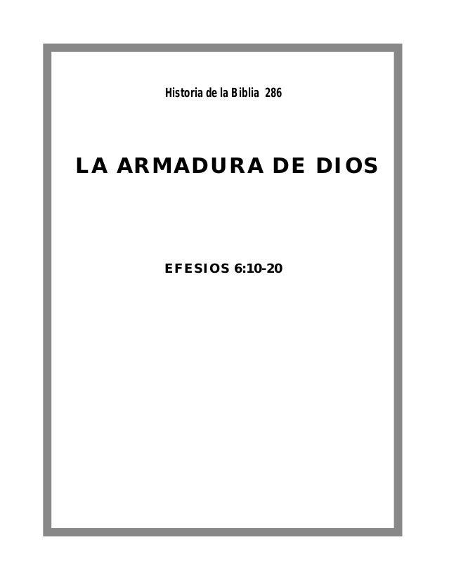 Historia de la Biblia 286LA ARMADURA DE DIOS     EFESIOS 6:10-20