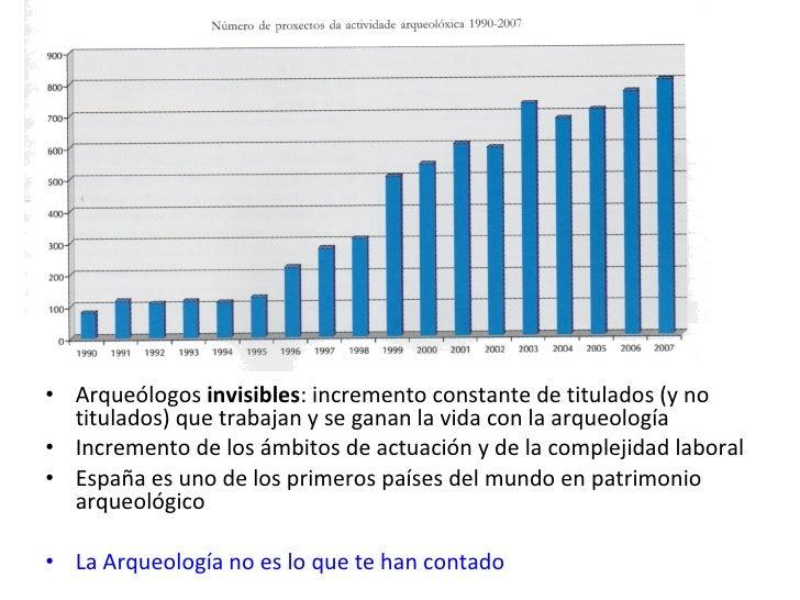 <ul><li>Arqueólogos  invisibles : incremento constante de titulados (y no titulados) que trabajan y se ganan la vida con l...
