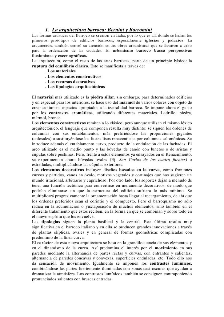 1. La arquitectura barroca: Bernini y BorrominiLas formas artísticas del Barroco se crearon en Italia, por lo que es allí ...