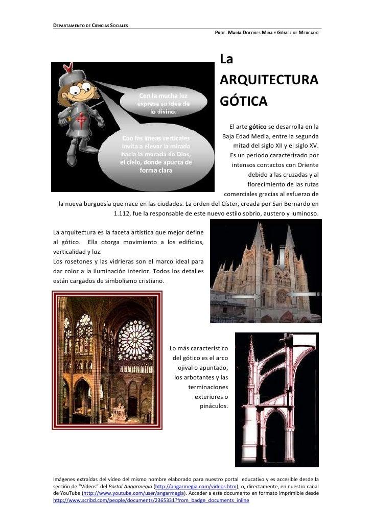 2009         Mª Dolores Mira y Gómez de Mercado La Arquitectura Gótica Angarmegia: Ciencia, Cultura y Educación. Portal de...