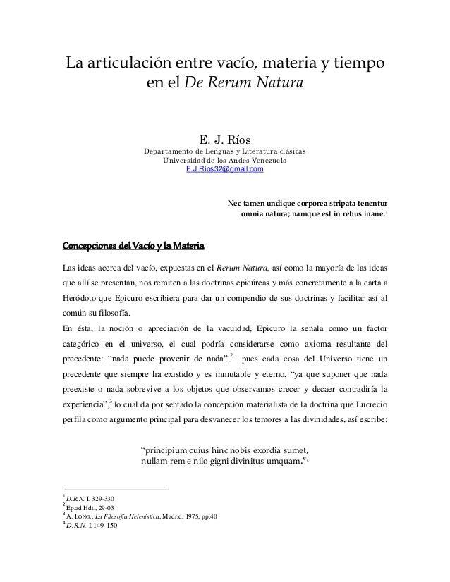 La articulación entre vacío, materia y tiempo en el De Rerum Natura E. J. Ríos Departamento de Lenguas y Literatura clásic...