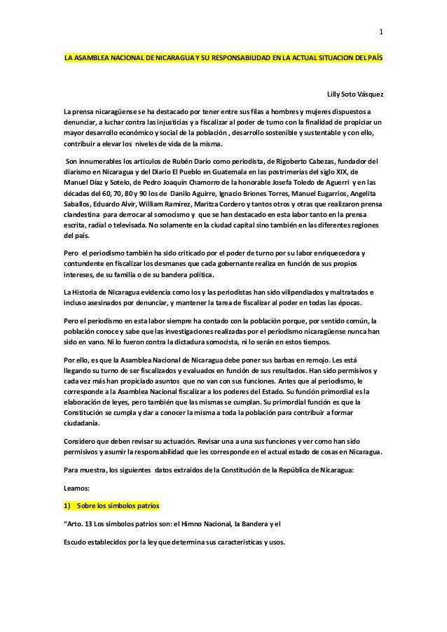 1LA ASAMBLEA NACIONAL DE NICARAGUA Y SU RESPONSABILIDAD EN LA ACTUAL SITUACION DEL PAÍS                                   ...