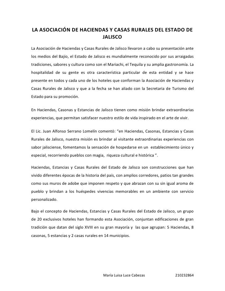 LA ASOCIACIÓN DE HACIENDAS Y CASAS RURALES DEL ESTADO DE                        JALISCOLa Asociación de Haciendas y Casas ...