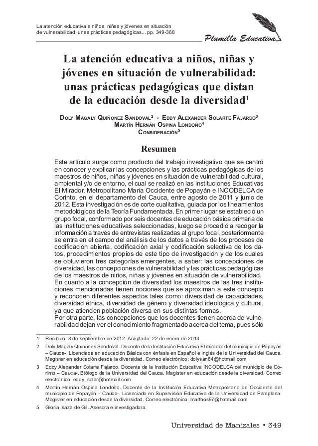 La atención educativa a niños, niñas y jóvenes en situación de vulnerabilidad: unas prácticas pedagógicas... pp. 349-368  ...