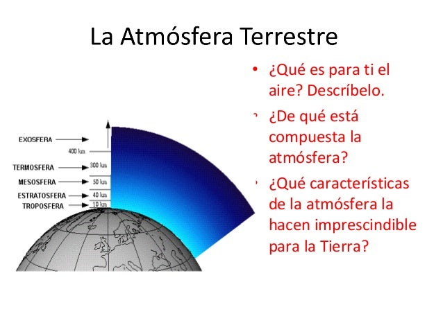• ¿Qué es para ti el aire? Descríbelo. • ¿De qué está compuesta la atmósfera? • ¿Qué características de la atmósfera la ha...