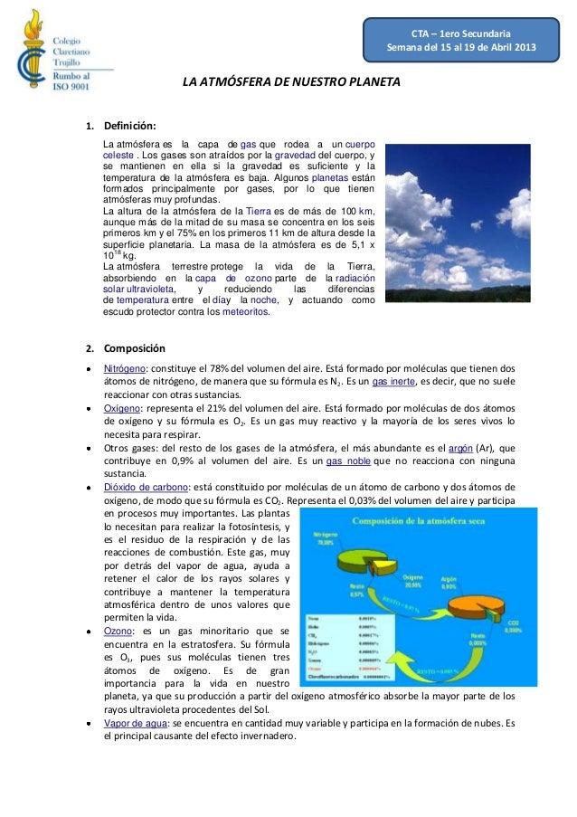 CTA – 1ero Secundaria                                                                    Semana del 15 al 19 de Abril 2013...