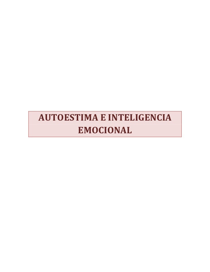 AUTOESTIMA E INTELIGENCIA       EMOCIONAL