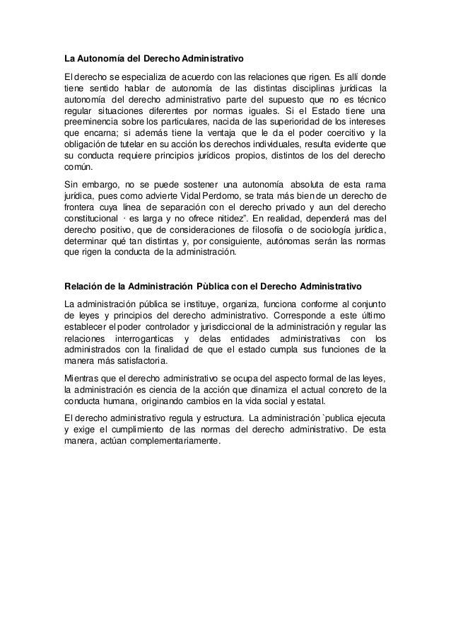 La autonomía del derecho administrativo