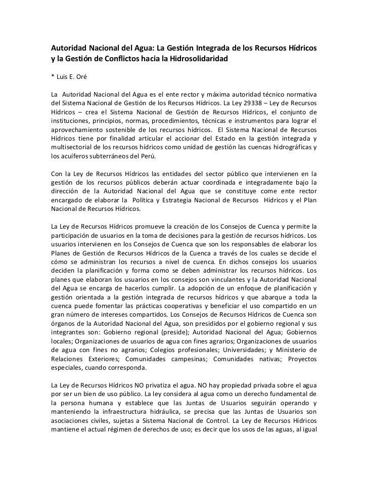 Autoridad Nacional del Agua: La Gestión Integrada de los Recursos Hídricosy la Gestión de Conflictos hacia la Hidrosolidar...