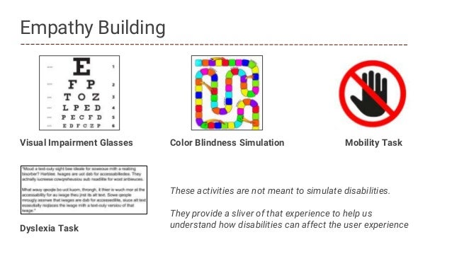 Dyslexia Task Empathy Building Visual Impairment Glasses Mobility TaskColor Blindness Simulation These activities are not ...