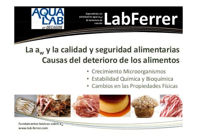 Especialistasen actividaddeagua(aw) &Isotermasde sorción  LabFerrer  Laaw ylacalidadyseguridadalimentarias...