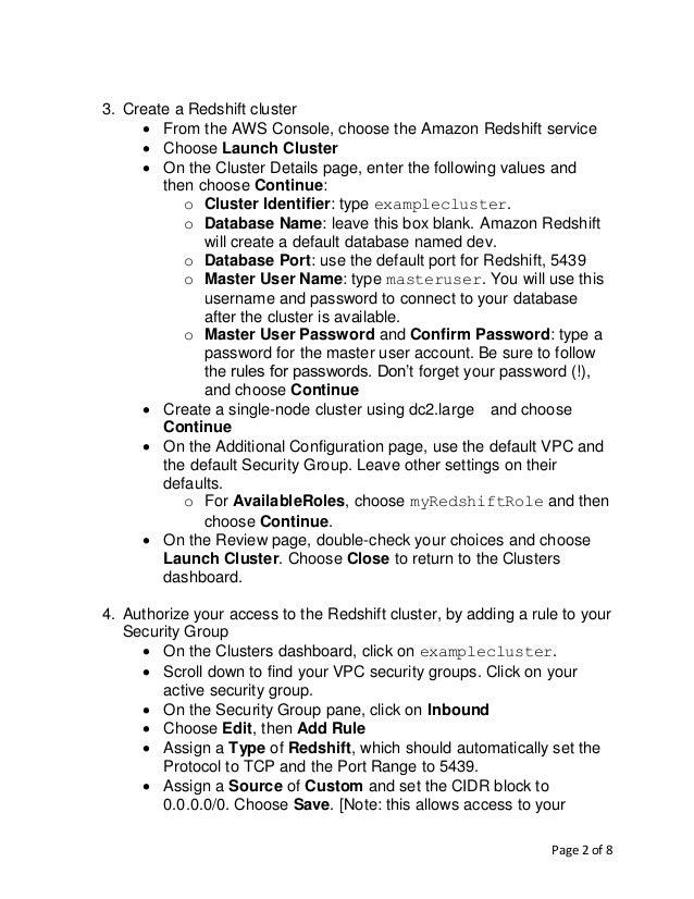 Lab Manual Using Redshift Slide 2
