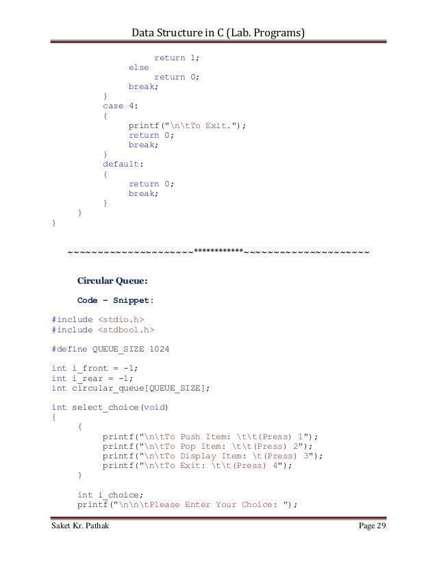 Data Structure in C (Lab Programs)