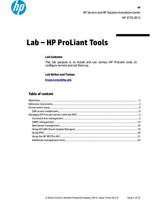 Lab Document on HP ProLiant value add tools on Linux