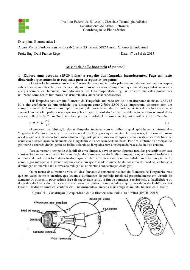Instituto Federal de Educação, Ciência e Tecnologia daBahia Departamento de Eletro-Eletrônica Coordenação de Eletrotécnica...