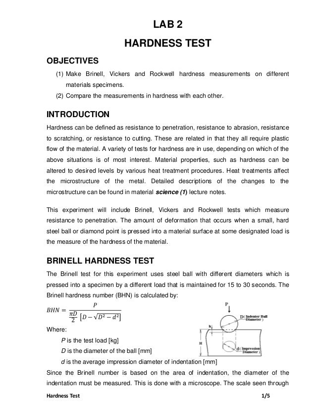 Hardness Test 1 5 LAB 2 HARDNESS TEST OBJECTIVES (1) Make Brinell d00b42ed080
