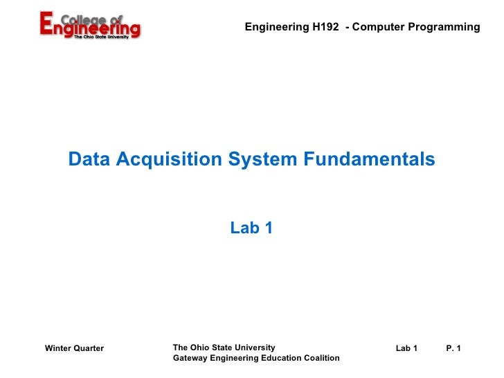 Data Acquisition System Fundamentals Lab 1