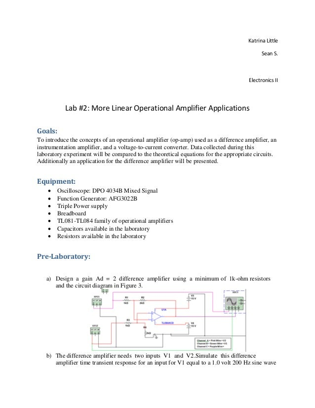 Lab 2 Report More Linear Operational Amplifiers