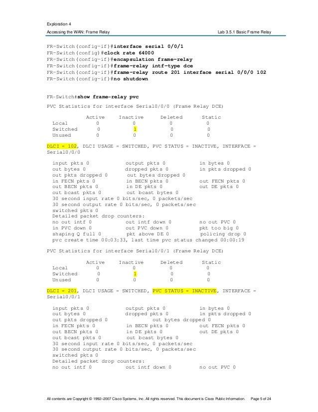 Lab 3 5 1 Basic Frame Relay