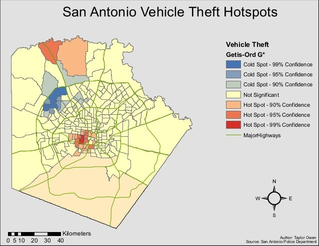 Map Of Texas 99.Map Of Vehicle Theft Hotspots In San Antonio Texas