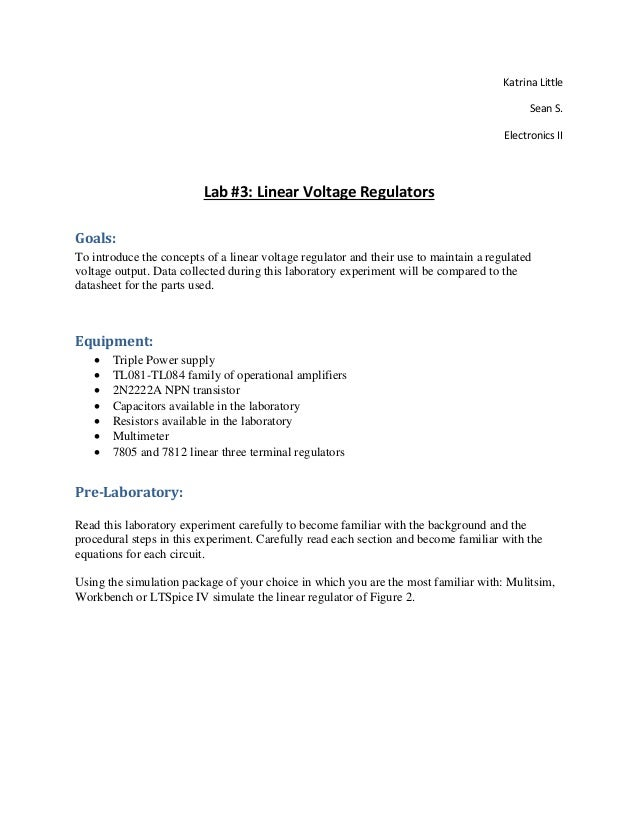 Lab 3 Report Linear Voltage Regulators