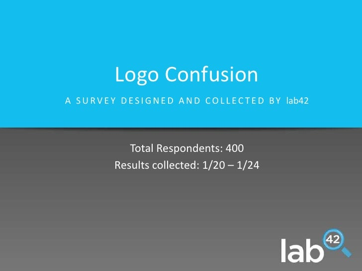 Logo Confusion<br />A SURVEY DESIGNED AND COLLECTED BY lab42<br />Total Respondents: 400<br />Results collected: 1/20 – 1/...