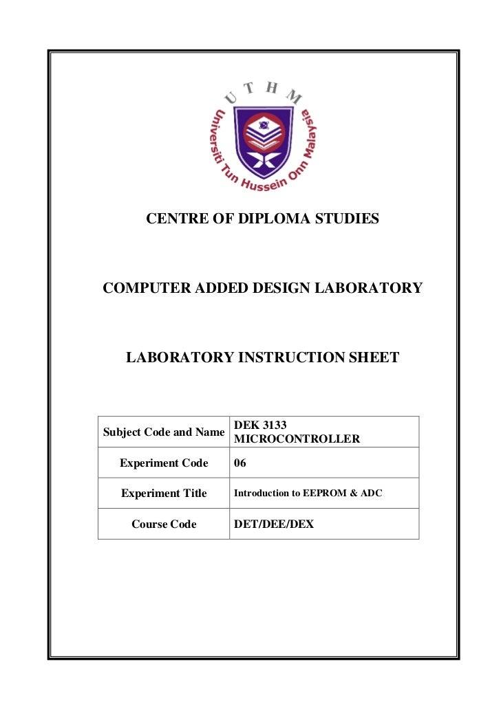 CENTRE OF DIPLOMA STUDIESCOMPUTER ADDED DESIGN LABORATORY   LABORATORY INSTRUCTION SHEET                        DEK 3133Su...