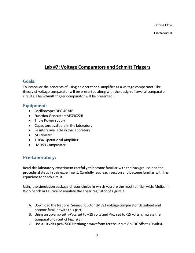 Lab 7 Report Voltage Comparators and Schmitt Triggers