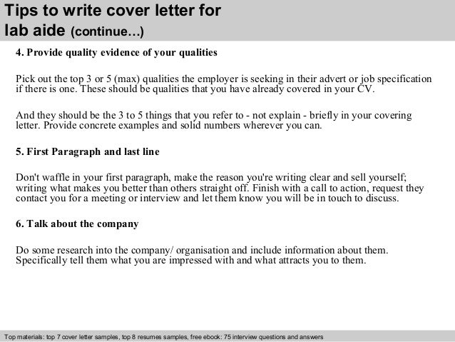 Lab aide cover letter