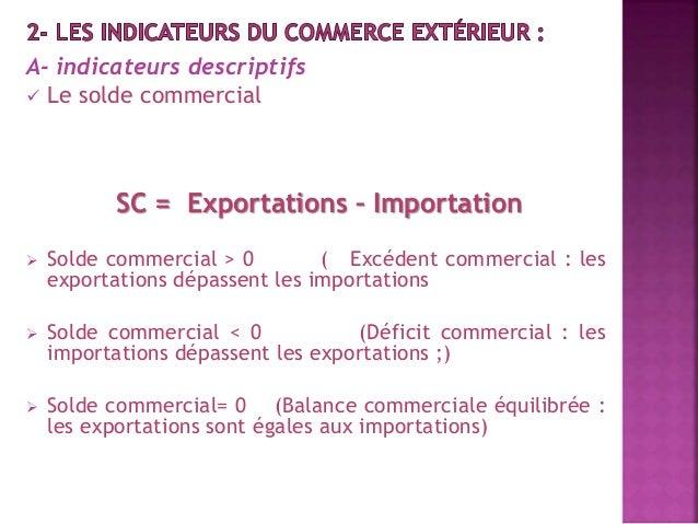 A- indicateurs descriptifs   Le solde commercial  SC = Exportations – Importation   Solde commercial > 0 ( Excédent comm...
